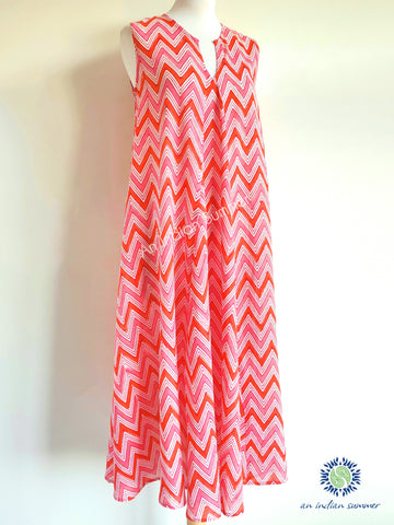 Sleeveless Midi Dress Kanebo | Pink & Orange | Zig Zag Chevron Block Print | Hand Block Printed | Cotton Voile | An Indian Summer | Seasonless Timeless Sustainable Ethical Authentic Artisan Conscious Clothing Lifestyle Brand