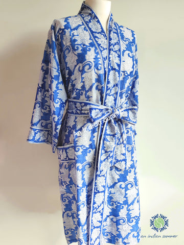 Kimono Robe | Japonica | Blue & White | Paisley Block Print | Hand Block Printed | Cotton Voile | An Indian Summer | Seasonless Timeless Sustainable Ethical Authentic Artisan Conscious Clothing Lifestyle Brand