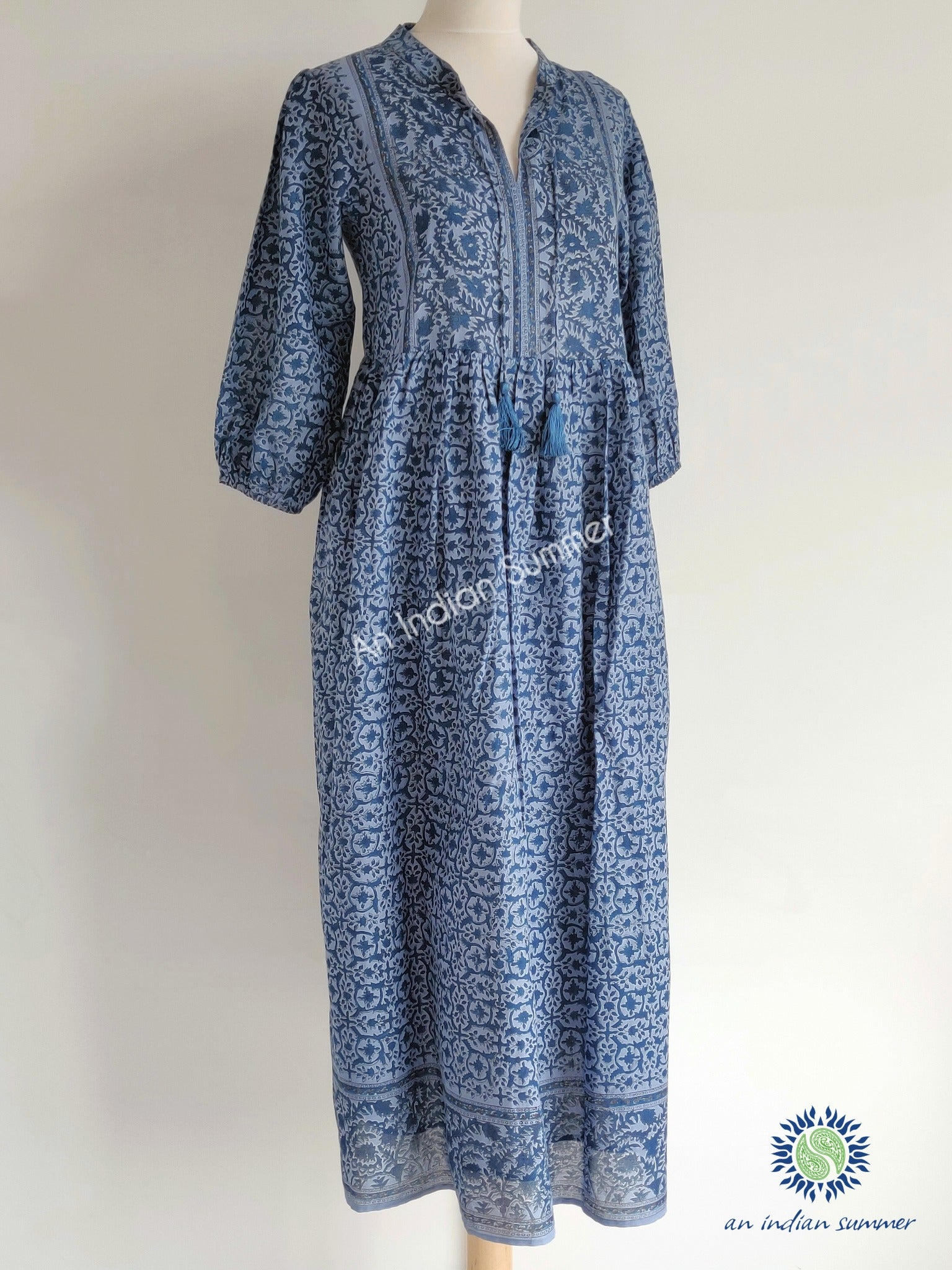 Laura Dress | Blue | Floral Print | Cotton Voile | An Indian Summer | Seasonless Timeless Sustainable Ethical Authentic Artisan Conscious Clothing Lifestyle Brand