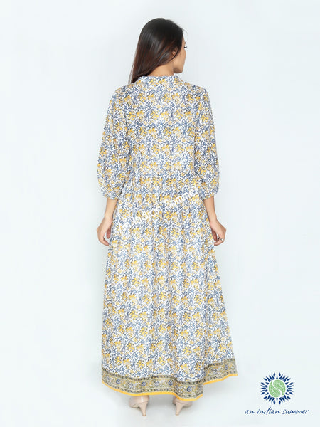 Laura Dress | Yellow | Floral Print | Cotton Voile | An Indian Summer | Seasonless Timeless Sustainable Ethical Authentic Artisan Conscious Clothing Lifestyle Brand