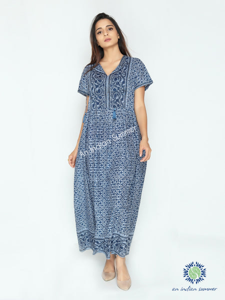 Lilia Dress | Blue | Floral Print | Cotton Voile | An Indian Summer | Seasonless Timeless Sustainable Ethical Authentic Artisan Conscious Clothing Lifestyle Brand