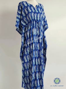 Blue Paisley Long Kaftan | Hand Block Printed | Cotton Voile | An Indian Summer