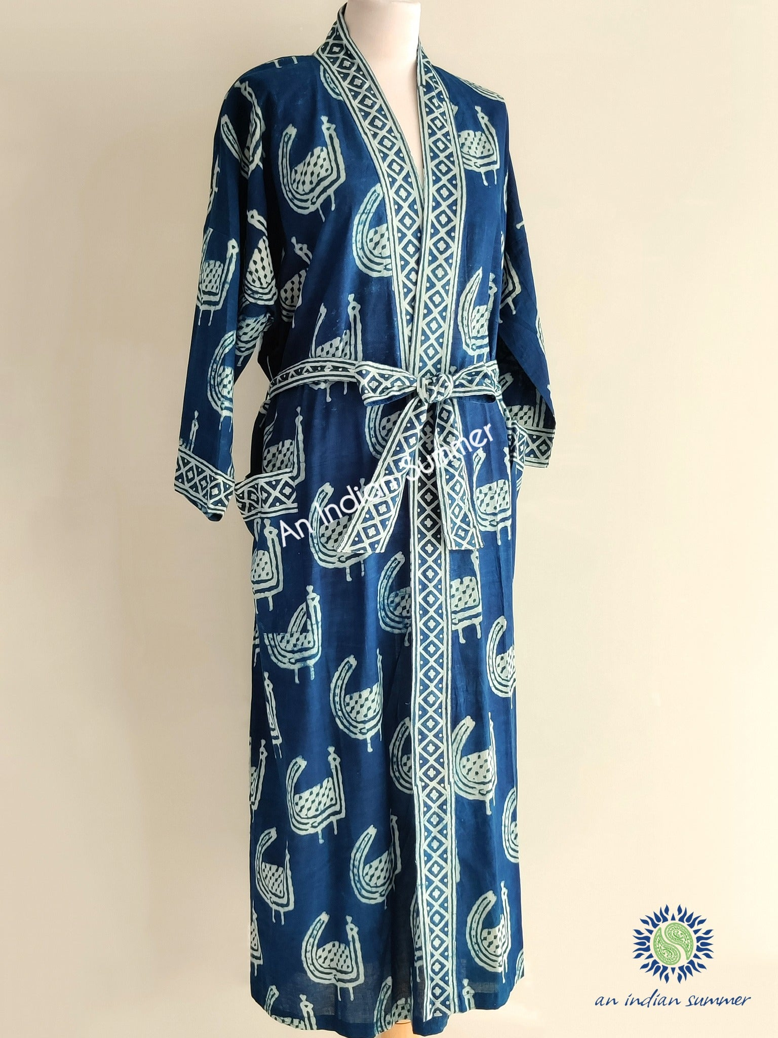 Long Kimono Robe | Natural Indigo Dyed Plant Dye | Peacock Design Abstract Block Print | Hand Block Printed | Cotton Voile | An Indian Summer | Seasonless Timeless Sustainable Ethical Authentic Artisan Conscious Clothing Lifestyle Brand