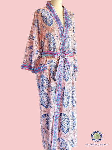 Long Kimono Robe | Paisley | Red Blue | Paisley Block Print | Hand Block Printed | Cotton Voile | An Indian Summer | Seasonless Timeless Sustainable Ethical Authentic Artisan Conscious Clothing Lifestyle Brand