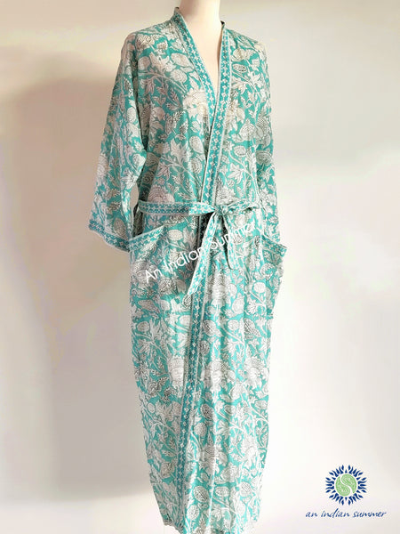 Long Kimono Robe | Thistle | Aqua | Botanical Block Print | Hand Block Printed | Cotton Voile | An Indian Summer | Seasonless Timeless Sustainable Ethical Authentic Artisan Conscious Clothing Lifestyle Brand