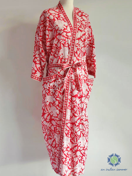Long Kimono Robe | Thistle | Red | Botanical Block Print | Hand Block Printed | Cotton Voile | An Indian Summer | Seasonless Timeless Sustainable Ethical Authentic Artisan Conscious Clothing Lifestyle Brand