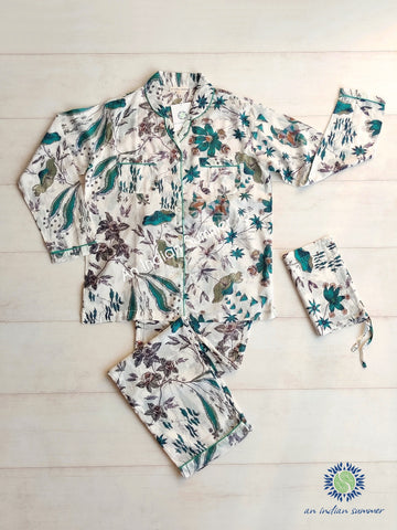 Long Pyjama Set | Botanica | Teal Grey Brown | Cotton Voile | An Indian Summer | Authentic Timeless Sustainable Ethical Artisan Conscious Responsible Clothing