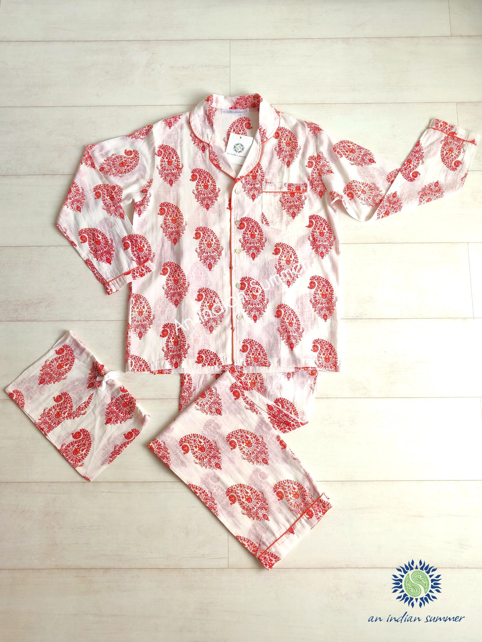 Long Pyjama Set Paisley | Red and Orange with Coral Contrast Details | Hand Block Printed Cotton Voile | An Indian Summer | Authentic Timeless Sustainable Ethical Artisan Conscious Responsible Clothing