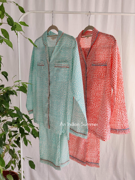 Long Pyjama Set Pebbles | Turquoise & Coral Contrast Details | Hand Block Printed Cotton Voile | An Indian Summer | Authentic Timeless Seasonless Sustainable Ethical Artisan Conscious Responsible Clothing