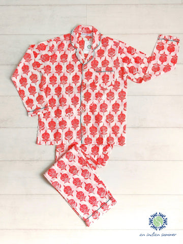 Long Pyjama Set Ottoman Flower | Coral with Turquoise Contrast Details | Hand Block Printed Cotton Voile | An Indian Summer | Authentic Timeless Seasonless Sustainable Ethical Artisan Conscious Responsible Clothing