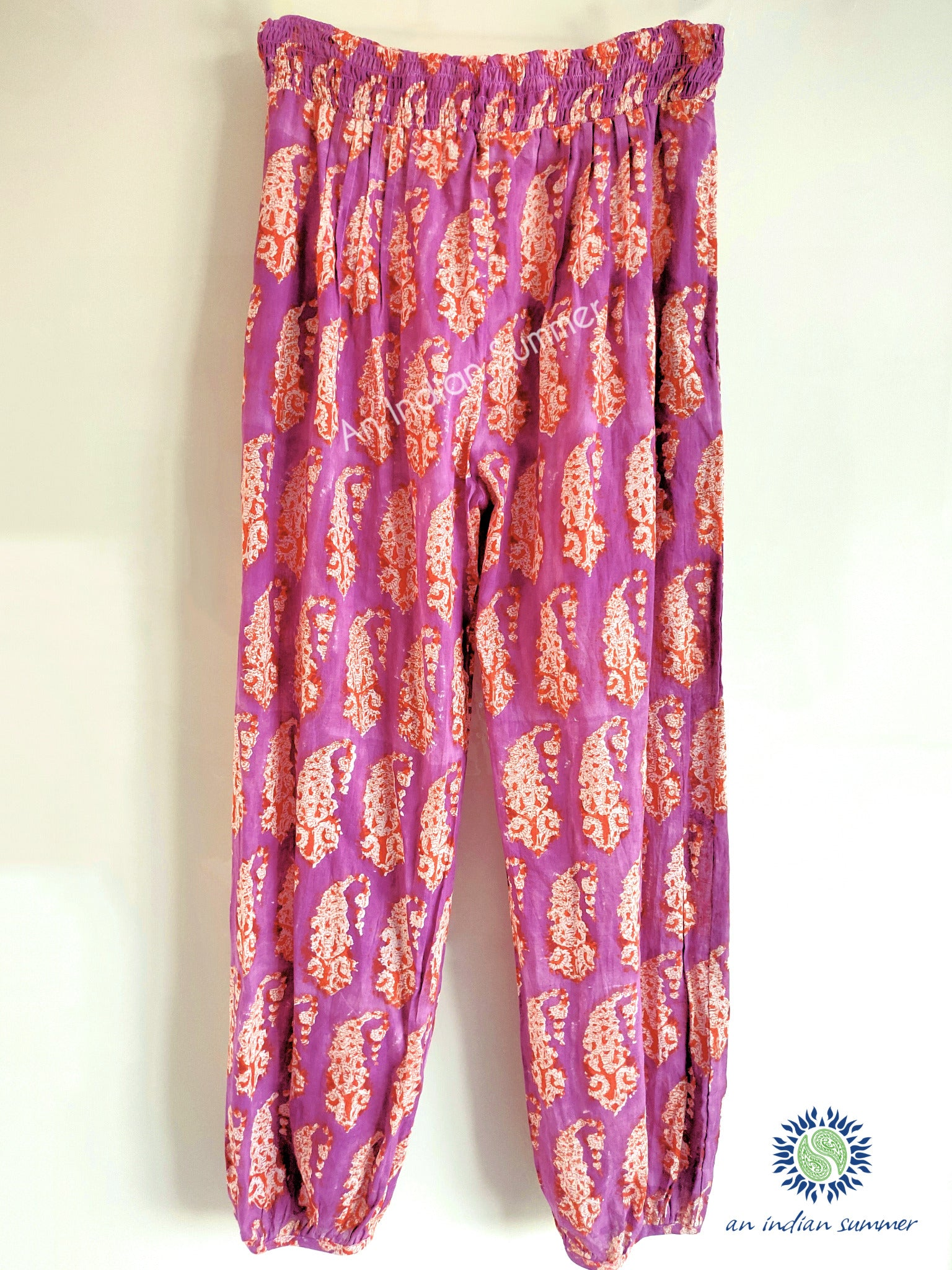 Paisley Harem Pants | Purple & Orange | Paisley Block Print | Hand Block Printed | Cotton Voile | An Indian Summer | Seasonless Timeless Sustainable Ethical Authentic Artisan Conscious Clothing Lifestyle Brand