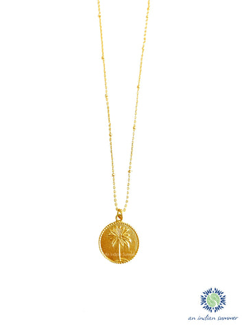 Coin Pendant Necklace - Palm Tree | 22 Carat Gold Plated Semi Precious Stones | An Indian Summer | Seasonless Timeless Sustainable Ethical Authentic Artisan Conscious Clothing Lifestyle Brand