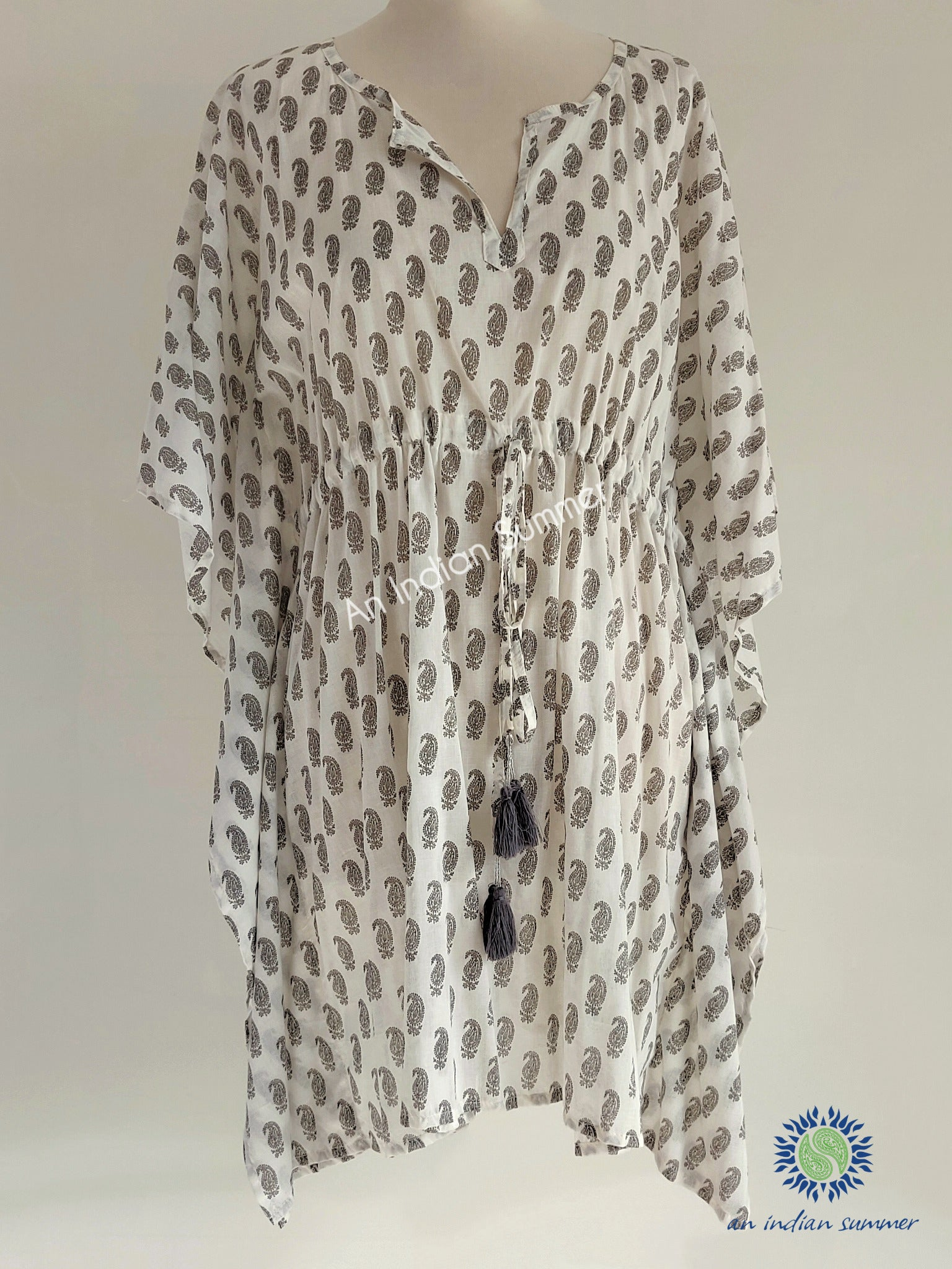 Kaftan Paisley Print Grey | Hand Block Printed | Cotton Voile | An Indian Summer | Seasonless Timeless Sustainable Ethical Authentic Artisan Conscious Clothing Lifestyle Brand