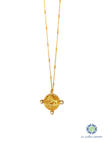 Talisman Medal Necklace - Leo | Lion Fresh Water Pearls| 22 Carat Gold Plated Semi Precious Stones | An Indian Summer | Seasonless Timeless Sustainable Ethical Authentic Artisan Conscious Clothing Lifestyle Brand