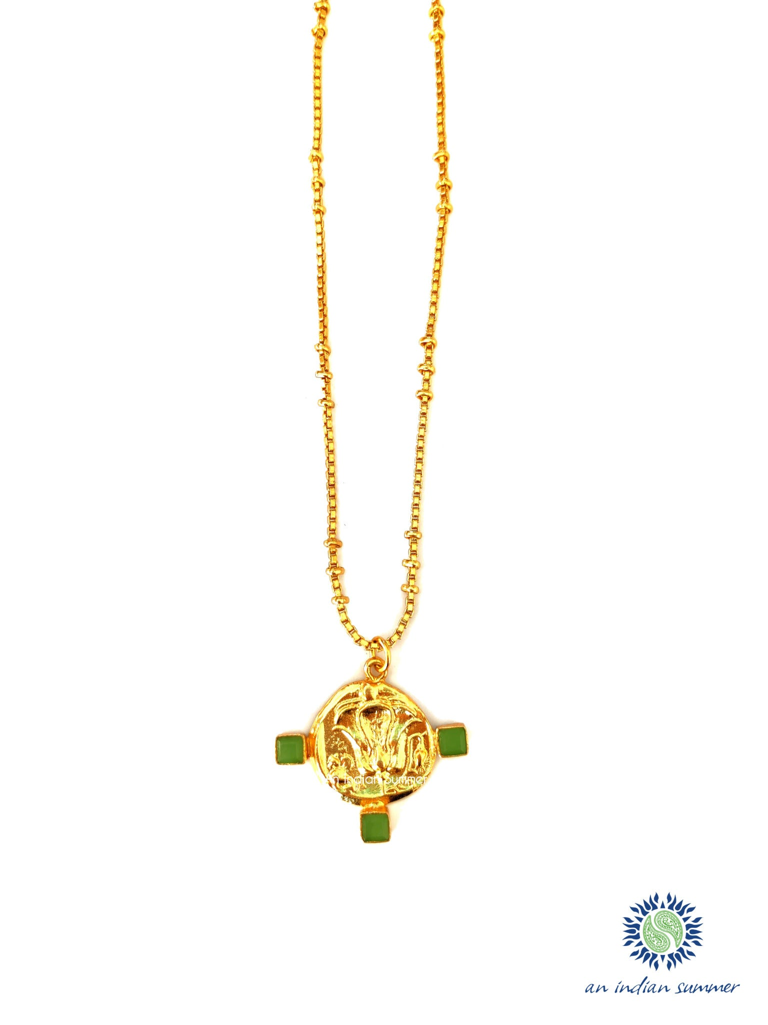 Talisman Medal Necklace - Lotus | Green Jade | 22 Carat Gold Plated Semi Precious Stones | An Indian Summer | Seasonless Timeless Sustainable Ethical Authentic Artisan Conscious Clothing Lifestyle Brand