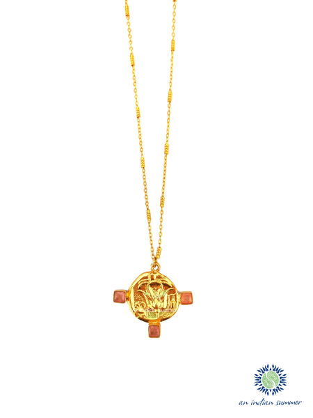 Talisman Medal Necklace - Lotus | Pink Jade | 22 Carat Gold Plated Semi Precious Stones | An Indian Summer | Seasonless Timeless Sustainable Ethical Authentic Artisan Conscious Clothing Lifestyle Brand