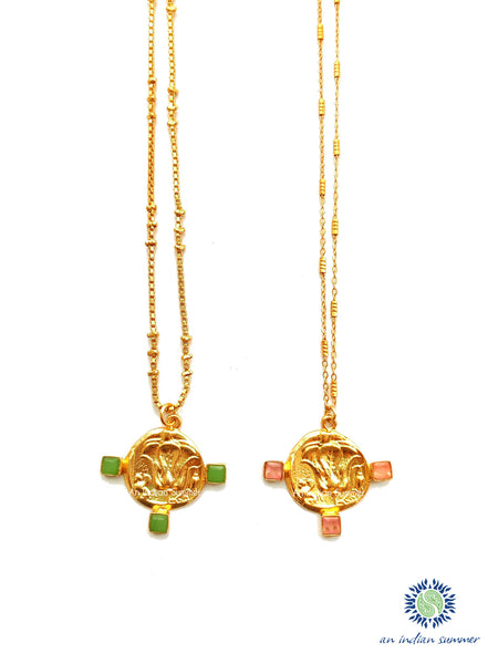 Talisman Medal Necklace - Lotus | Green Jade Pink Jade | 22 Carat Gold Plated Semi Precious Stones | An Indian Summer | Seasonless Timeless Sustainable Ethical Authentic Artisan Conscious Clothing Lifestyle Brand