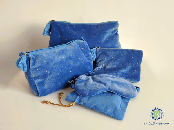 Velvet Pouches | Powder Blue with Gold Stars | Cotton Velvet | An Indian Summer | Seasonless Timeless Sustainable Ethical Authentic Artisan Conscious Clothing Lifestyle Brand