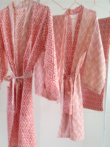 *Special Bundle Offer* Coral Geometric Print Loungewear Set: Kimono Robe & Trousers