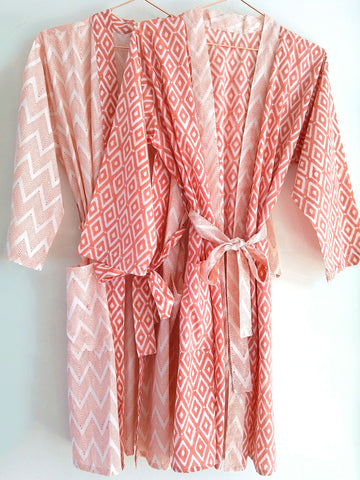 Kimono Robe - Geometric Block Print - Coral - An Indian Summer