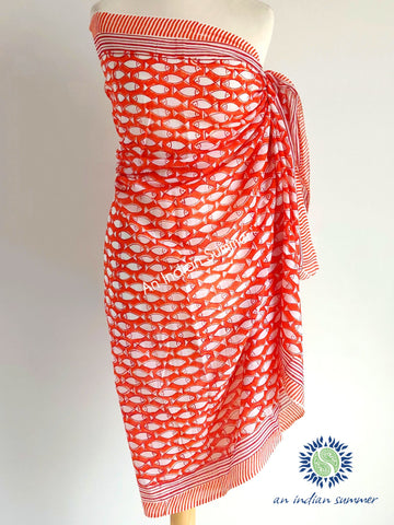 An Indian Summer | Fish Sarong Pareo | Orange | Soft Cotton | Hand Block Printed