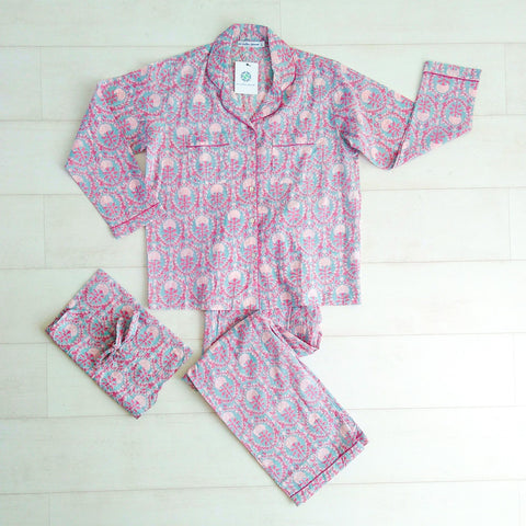 Dahlia Print Pyjama Set - An Indian Summer