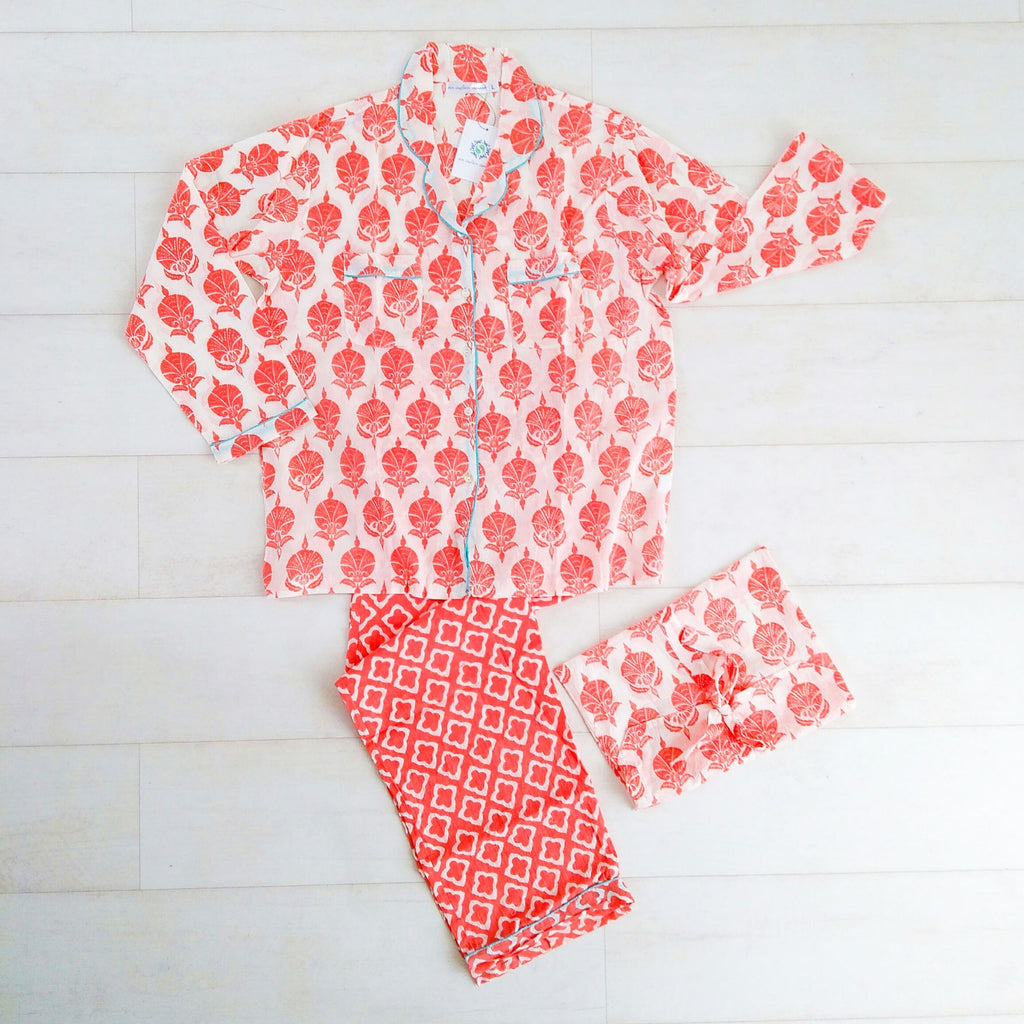 Mixed Patterns Pyjama Set - Coral - An Indian Summer