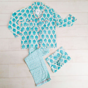 Mixed Patterns Pyjama Set - Turquoise - An Indian Summer