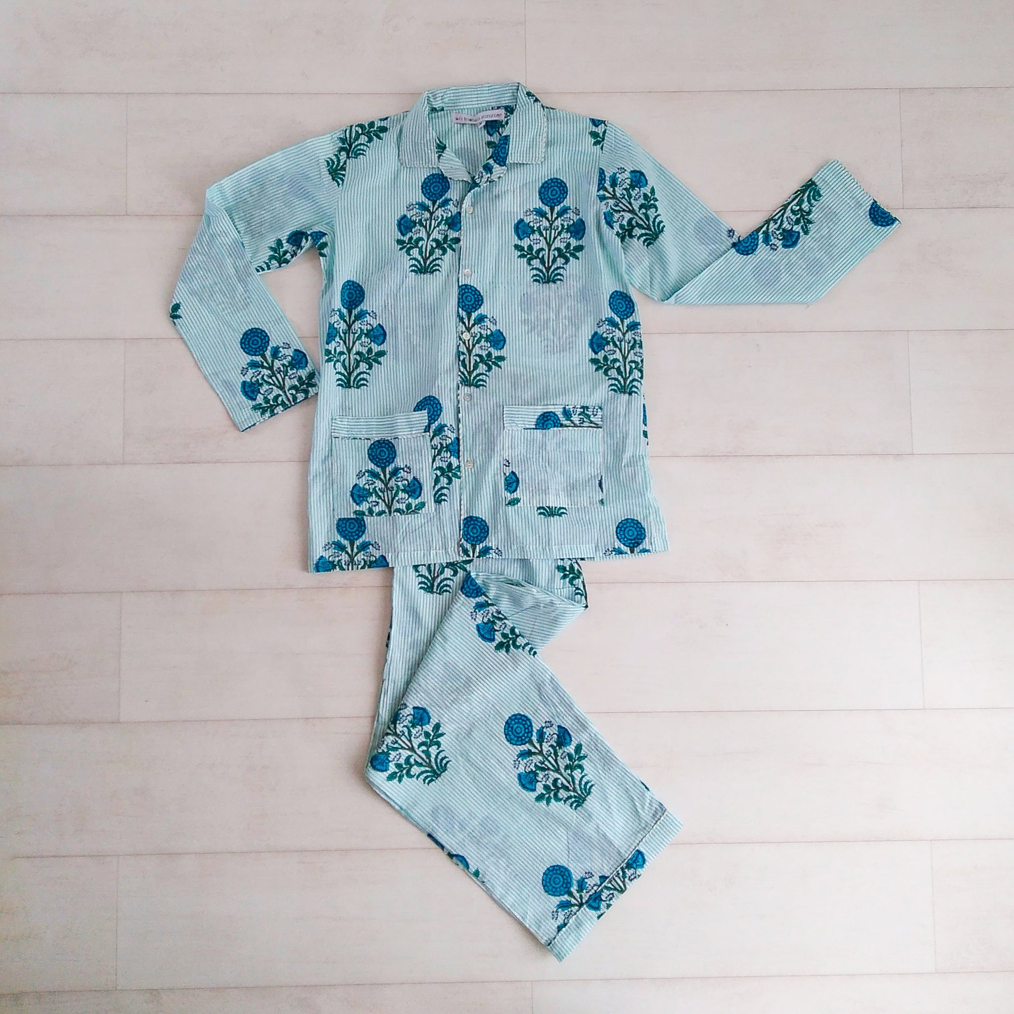Stripey Floral Pyjama Set - Blue - An Indian Summer