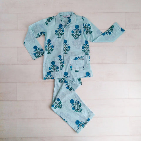 Stripey Floral Pyjama Set - Blue