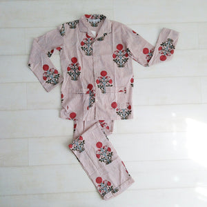 Stripey Floral Pyjama Set - Red - An Indian Summer