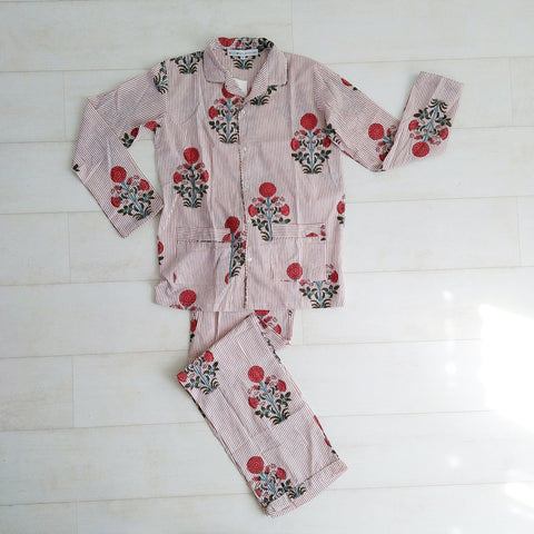 Stripey Floral Pyjama Set - Red