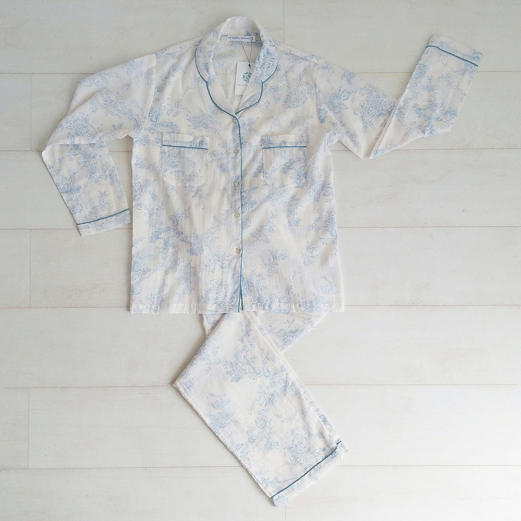 Toile Print Blue Pyjama Set | Hand Block Printed | Cotton Voile | An Indian Summer