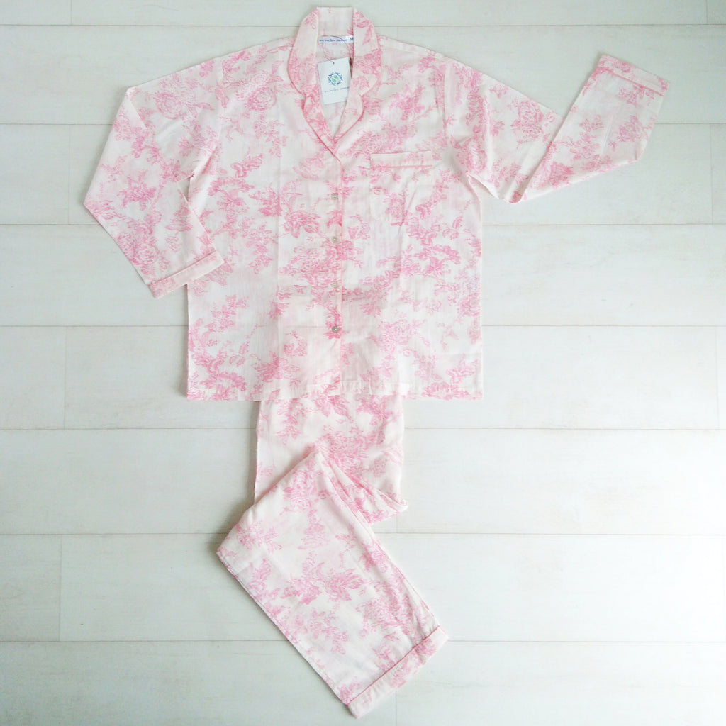 Toile Print Pink Pyjama Set | Hand Block Printed | Cotton Voile | An Indian Summer