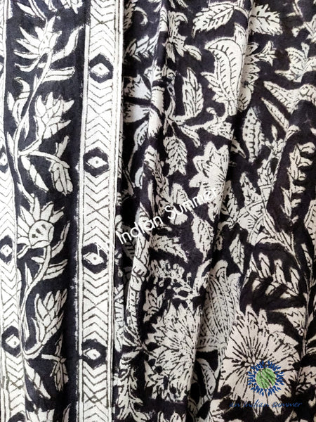 Long Kimono Robe - Floral Block Print - Meadow - Available in 3 Colourways: Blue, Black, Red