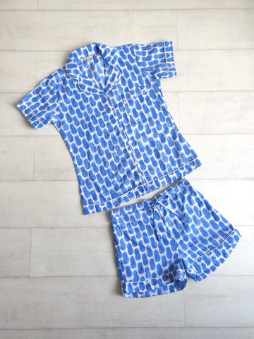 Pineapple Print Short Pyjama Set - Blue - An Indian Summer