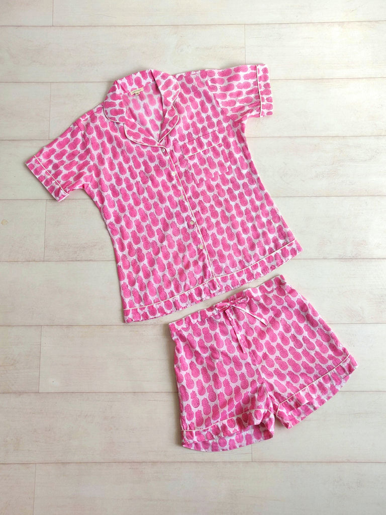 Pineapple Print Short Pyjama Set - Pink - An Indian Summer
