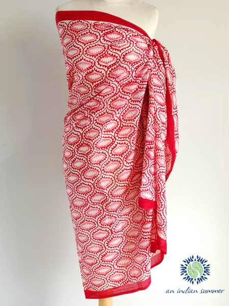 An Indian Summer | Tulum Sarong Pareo | Tile Print | Red & Pink | Soft Cotton | Hand Block Printed
