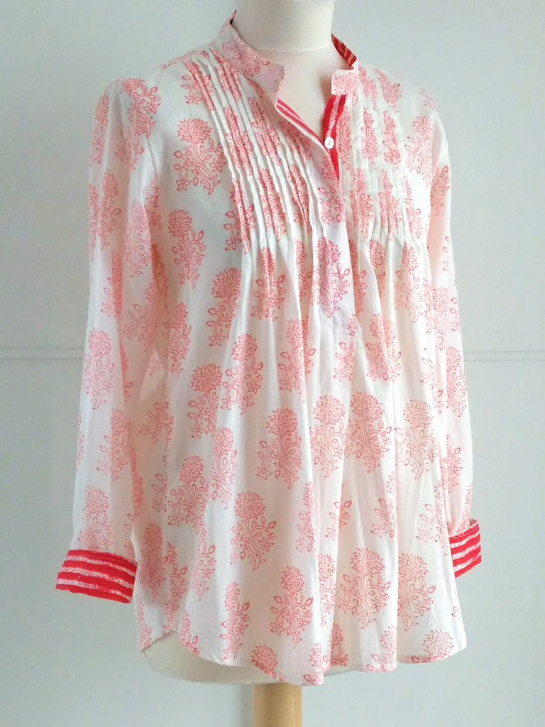 Anandi Top Coral | Hand Block Printed | Cotton | An Indian Summer