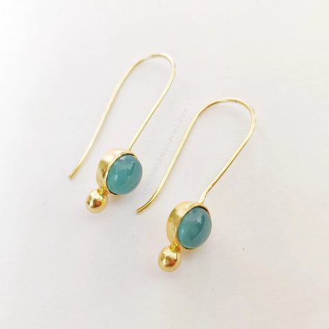 Aqua Chalcedony Drops Earrings | Gold Plated | Semi Precious Jewellery | An Indian Summer