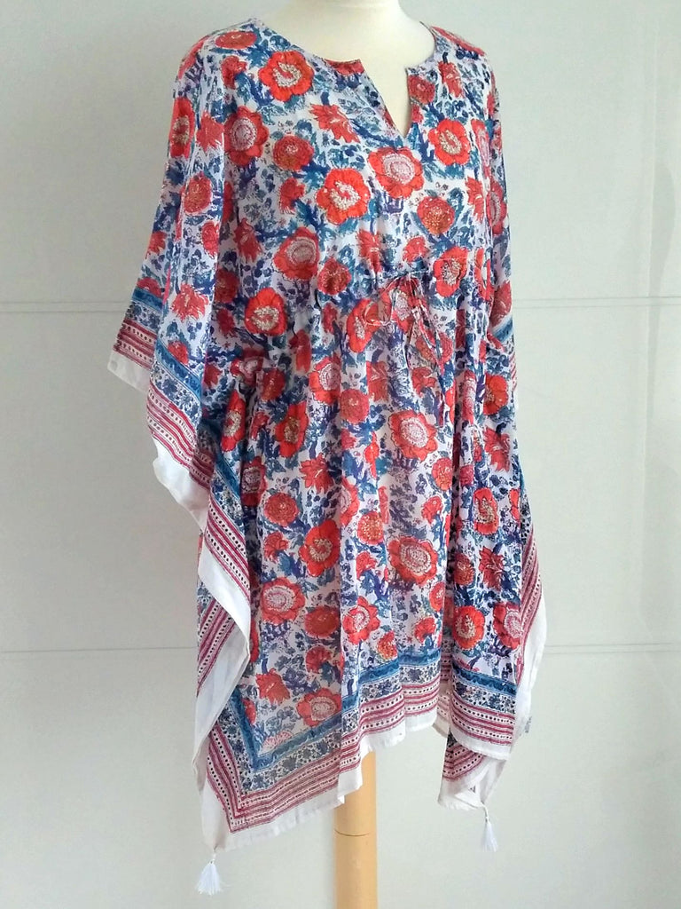 Avia Poncho Kaftan | Hand Block Printed Floral Design | Blue Orange | Cotton | An Indian Summer