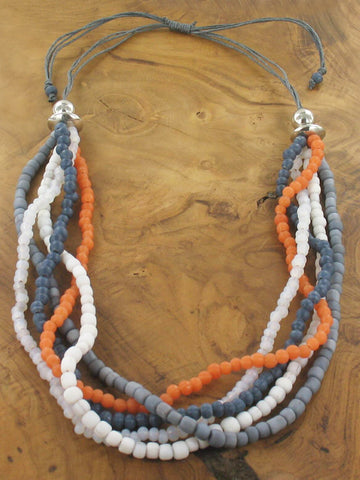 Beaded 5 Strand Necklace - Grey & Orange