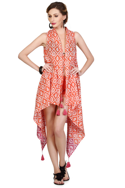 Bahamas Sleeveless Jacket Cover Up - Coral & Pink - An Indian Summer