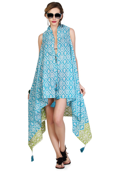 Bahamas Sleeveless Jacket Cover Up - Turquoise & Lime - An Indian Summer