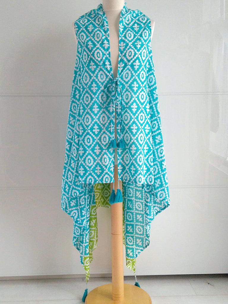 Bahamas Jacket Coverup Turquoise & Lime | Hand Block Printed | Cotton | An Indian Summer