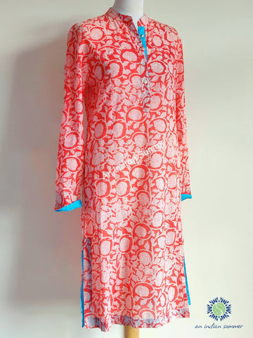 Tunic Dress Blossom Coral with Turquoise Contrast Detail | Hand Block Printed | Cotton Voile | An Indian Summer | Seasonless Timeless Sustainable Ethical Authentic Artisan Conscious Clothing Lifestyle Brand