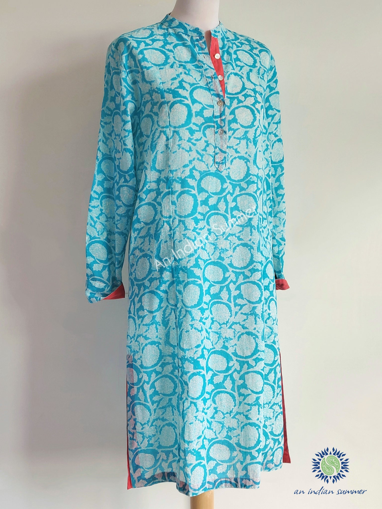 Tunic Dress Blossom Turquoise with Coral Contrast Detail | Hand Block Printed | Cotton Voile | An Indian Summer | Seasonless Timeless Sustainable Ethical Authentic Artisan Conscious Clothing Lifestyle Brand