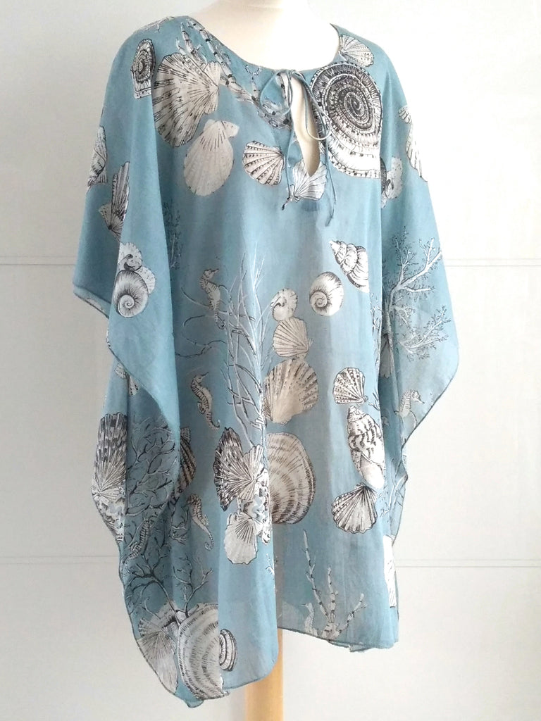 Calypso Seashells Kaftan Blue Grey - ONLY 1 LEFT! - An Indian Summer