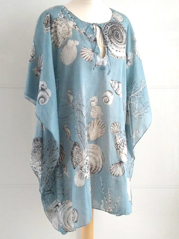 Calypso Seashells Kaftan Blue Grey