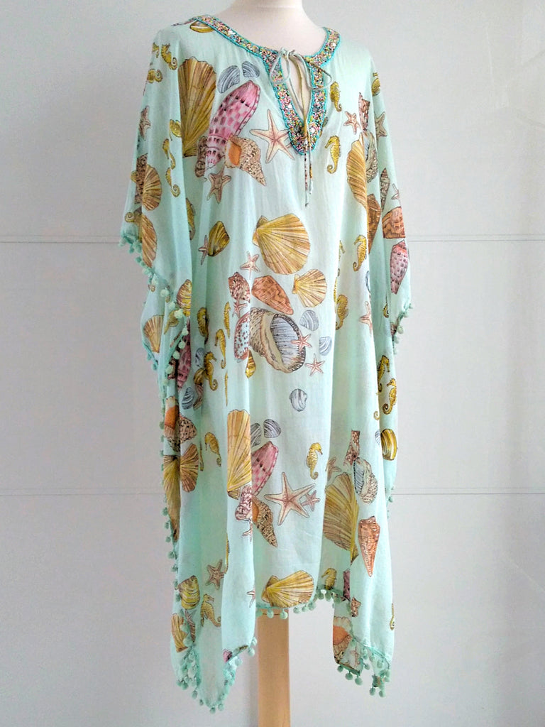 Calypso Seashells Kaftan Mint - An Indian Summer
